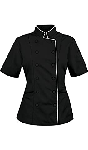 Short Sleeves Women's Ladies Chef's Coat Jackets By Chef Apparels (XL (For Bust 40-41), Black)