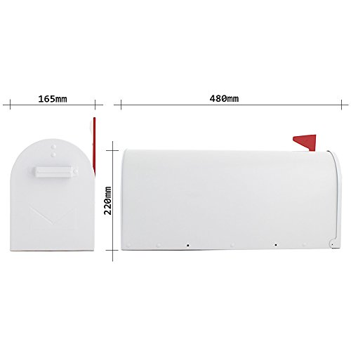Profirst Mail PM 630 Briefkasten Weiß, Amerikanischer Stil aus verzinktem Stahlblech ,pulverbeschichtet ,inklusive Montagematerial - 4