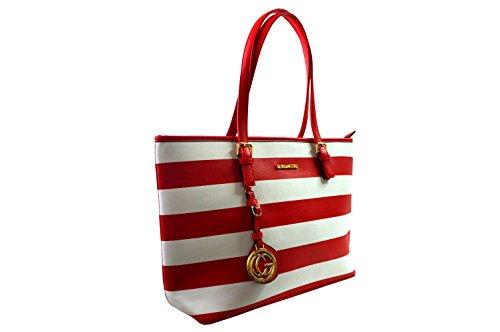 Miniprix sac classeur, Borsa tote donna Nero nero taglia unica Rouge/Blanc(Rayures)