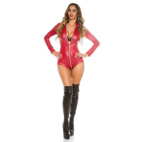 MNLXL Red Leather Sexy Dessous Engen Body Sexy Pole Dance Kostüm Nachtclub - Red Dance Kostüm