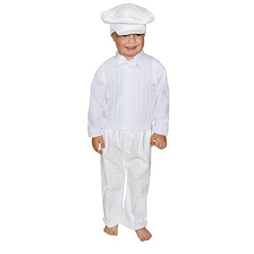 Baby-Anzug Taufanzug 5-tlg. Set Festanzug Taufkleidung Jungen Anzug Taufe Weiß Blau, Farbe: Weiß, Größe: 74