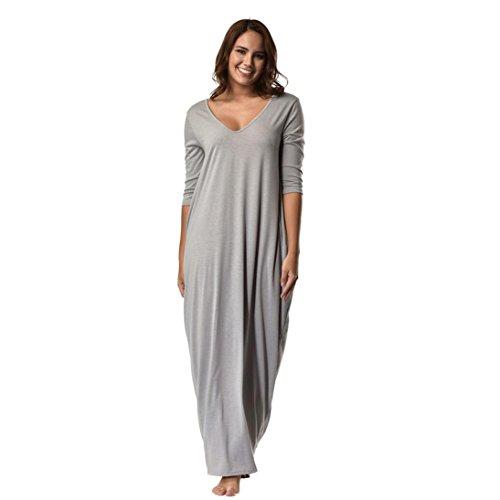 Elecenty Damen Tief V-Ausschnitt Lose Partykleid Solide Sommerkleid Kleider Frauen Mode Übergröße Kleid Minikleid 3/4 Ärmel Knöchellang mit Taschen Kleidung (XL, Grau)