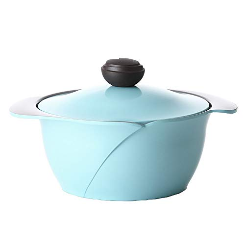 Gussaluminiumform Rose 3.4L / 24cm mit Antihaft-Keramikbeschichtung, PFOA-freier Ofen mit Deckelfarbe Blau 001