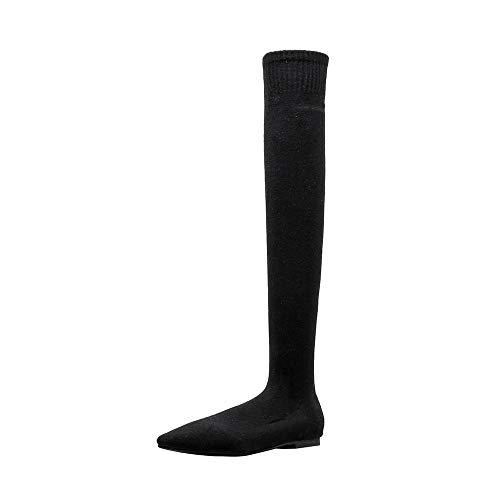 Fuibo Damen Stiefel, Damenmode Spitz-Toe Flache Schuhe über Das Knie Warm Martin Stiefel halten | Stiefeletten Ankle Boots Schlupfstiefel Chelsea Boots (37.5 EU, Schwarz)