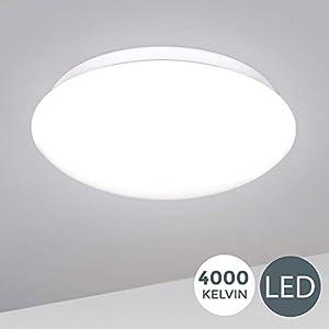 B.K.Licht I 12W LED Deckenlampe I 4.000K Neutralweiß I 1.200 Lumen I Ø28cm I Schutzart IP20 I Schlafzimmerlampe gewölbt…