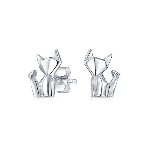 Winzige Geometrische 3D-Origami Katze Haustier Katze Kitty Ohrstecker Für Damen Für Jugendlich Poliert Sterling Silber