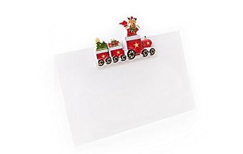 20 Stück weiß-grün-rote Weihnachten SANTA-NIKOLAUS-ZUG-LOKOMOTIVE Streuteile Tischstreu Zierdeko (m. Klebepunkt) Tischkarten Namens-Schilder Sitzkarten (Weihnachtsfeier Tischdekoration)