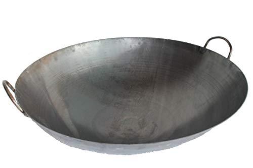 AAF Nommel ® Wok Ölwanne ca. 60 cm Durchmesser mit 2 Griffen/Henkeln mit rundem Boden für Gas, Gastronomie