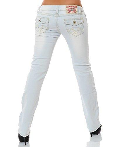 Damen Jeans Straight Leg (Gerades Bein Dicke Nähte Naht weitere Farben) No 12923 Hellblau