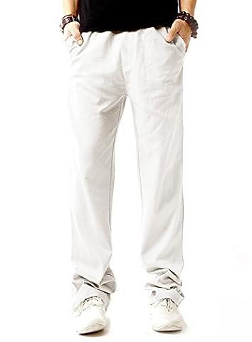 LILBETTER Herren Casual Beach Leinen Hosen Sommer Leinen Hosen (Weiß M)