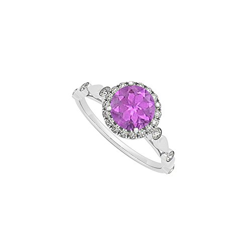 February Birthstone Round Amethyst and Cubic Zirconia Engagement Ring in 14K White Gold