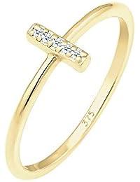Elli Premium Ring Kreuz Symbol Geo Diamant (0,05 ct.) 375 Gelbgold