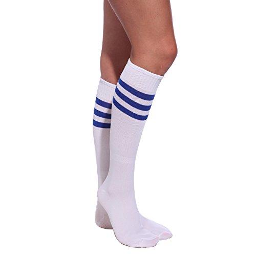 Weiss-Blau Damen Maedchen Fussball Stutzen SportSocken Sport Socken Strumpf Stutzenstruempfe Fussballstutzen (Weiße Blaue Cheerleader Und Kostüm)