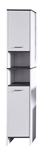 *trendteam Badezimmer Hochschrank Schrank California, 32 x 103 x 28 cm in Weiß, Absetzung Rauchsilber mit viel Stauraum*