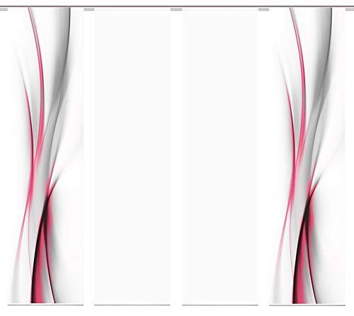 wohnfuehlidee 4er-Set Flächenvorhang, Deko Blickdicht, UFA, Höhe 245 cm, 2X Dessin /2X Uni transparent, Fb. rot-pink/weiß (Flächenvorhänge Rot)