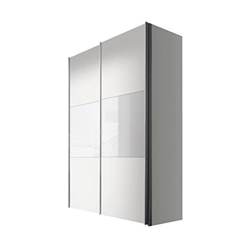Express Möbel Schwebetürenschrank 150 cm Weiß-Polarweiß, 2-türig, Absetzung Glas Weiß, BxHxT 150x216x68 cm, Art Nr. 45880-210