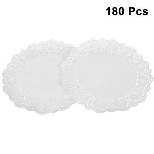 SUPVOX 180pcs napperons de papier blanc dentelle napperon napperons d'emballage de gâteau napperons de papier pour gâteaux Desserts au four régal affichage blanc