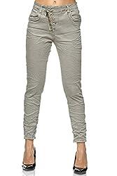 Elara Damen Jeans High Waist Hose Knöpfe Chunkyrayan F6623-4 Grey-36