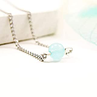 Dainty Single Aquamarine Gemstone Bead Necklace