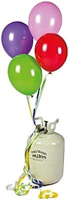Unique - Bombona de Helio mini + 30 globos de colores. Capacidad para 30 globos de 25cm de diámetro
