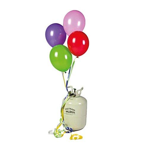 Una bombona con 0,25m3 de gas helio comprimido. Es un gas no inflamable que pesa menos que el aire lo que permite que los globos floten. Las bombonas pesan muy poco, por lo que son transportables y manejables. Además son muy fáciles de usar y totalme...