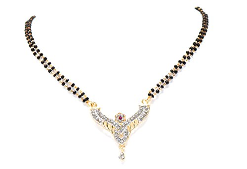 Crown Inglis Lady Durable Traditional Immitation Jewellery Gold American Diamond Plated Golden Brass Earrings Drop Earring Imitation Stone Mangalsutra Necklace Set Black Bead Chain for Women