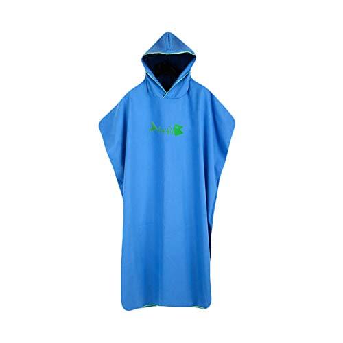 Serviette Poncho Ultra légère et, Surfing Changement Serviette Robe avec Capuche, Microfibre, Unisexe, Séchage Rapide, Compact, Absorbant, Léger, idéal pour Plage,Blue,110 * 88cm