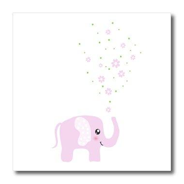 3dRose ht_113125_3 Niedlicher rosa Elefant bläst Blumen von Trunk-Girly Kinderzimmer Bügeln auf Wärmeübertragung für weißes Material, 25,4 x 25,4 cm - Blast Bekleidung