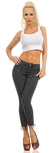 Fashion4Young - Jeans - Femme Turquoise turquoise M = 40 gris foncé