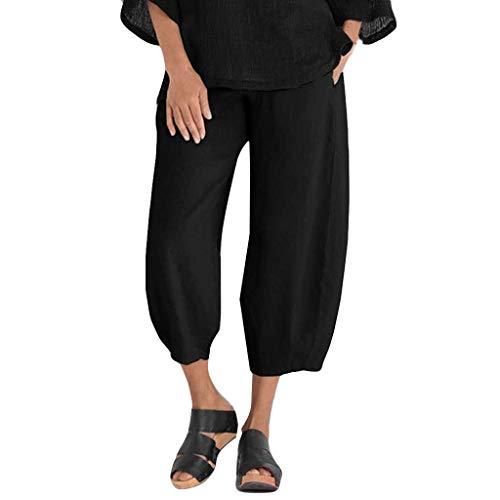 Watopi Damen hohe Taille Pluderhosen Volltonfarbe Kurze Hosen Gummibund Freizeithose Hosen Damen Hosen
