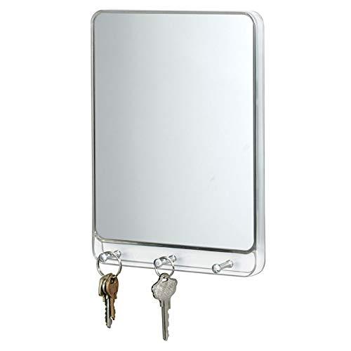 iDesign 38140EU Linus Wandmontierter Spiegel mit 3 Haken, Küche, Eingang, Flur, durchsichtig / chrom (Eingangsbereich Spiegel Regal)