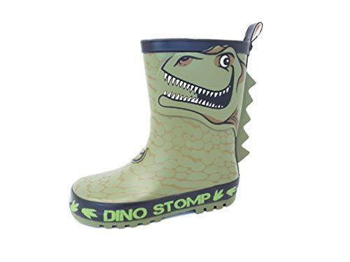 Boys T-Rex Dino Stomp Wellies/Rain Boots Green