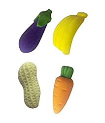 NPRC 3D Fruits and Vegetables Erasers for Kids (Pack of 4 )