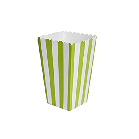 12Pcs Striped Popcorn Boxes Bags Kids Party Treat Boxes Wedding Birthday Decorations Scatole Popcorn Green
