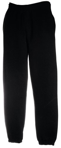 JOGGINGHOSE ELAST BUND FRUIT OF THE LOOM S M L XL XXL M,Schwarz (Elastische Herren-pants)