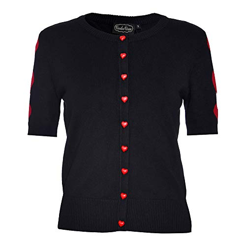 Voodoo Vixen Beth with Hearts Cardigan (Schwarz) - Medium