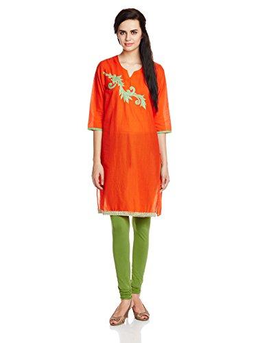 Atayant Women's Straight kurta (ATAY01715_L_ORANGE)  available at amazon for Rs.179