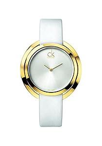 CK - Reloj de cuarzo para mujer, correa de cuero color plateado de CK