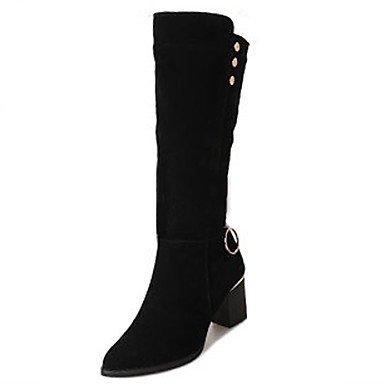 Rtry Femmes Chaussures Flocage Automne Hiver Les Bottes De Mode Chunky Bottes À Talons Sur Les Genoux Bottes & Amp; Boucle Pour Casual Noir Noir Us8 / Eu39 / Uk6 / Cn39 Us8 / Eu39 / Uk6 / Cn39