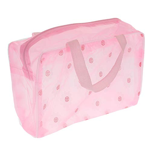Floral Purse Bag (ZuanYin Classic Cosmetic bag, storage bag, waterproof, floral, large capacity,Portable in fine style(None pink))