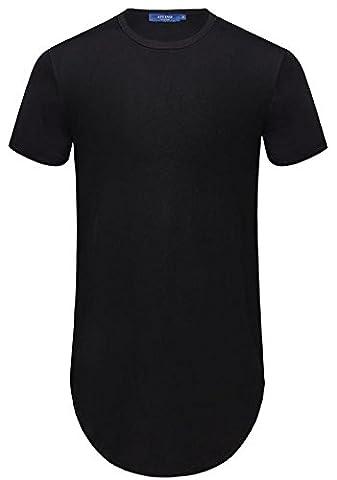 AIYINO Herren Shaped Long Tee Men's T-Shirt with Round Neck