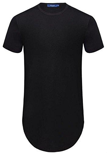AIYINO Herren T-Shirt Shaped Long Tee 100% Baumwolle mit Rundhals Schwarz
