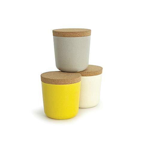 BIOBU by EKOBO 34727 3er-Vorratsdosen-Set S (3 x 240 ml), stone / weiß / lemon