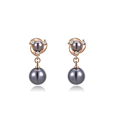 Lacyton 18k Rose Gold AAA Quality Black Tahitian Cultured Pearl Simulated Diamond Clip on Dangle Earrings