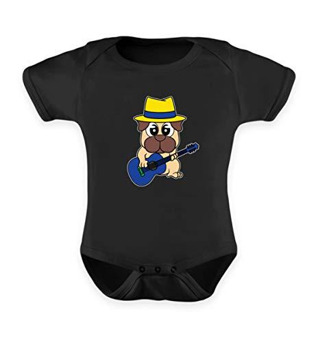 Affiliate.Inc Lustiges Mops Gitarren Design für Hundeliebhaber Pug ideales Geschenk für Hundehalter Hund - Baby Body -6-12 Monate-Schwarz