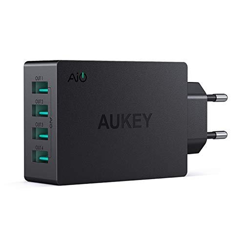 AUKEY Caricatore da Muro Portatile a 4 Porte con AiPower 40W, Caricatore USB per iPhone X / 8 / 8 Plus, iPad Air / Pro, Samsung, LG, HTC ecc.