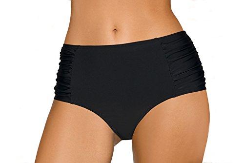 LORIN Damen Bikini Schwimmhosen Tankini Bademode Unterteile, L8004, Schwarz, EU (Schwimmen Kostüm Mit Cup Größen)
