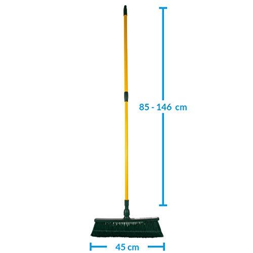 Krallenbesen 45cm | Besen Draußen Kunststoff Garten Set | Besen mit Teleskopstiel | Idealer Laubbesen | Alternative zum Fächerbesen