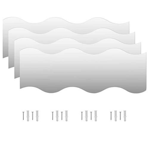 VidaXL 4X Espejos Pared Vidrio Ondulado 60x18.5cm