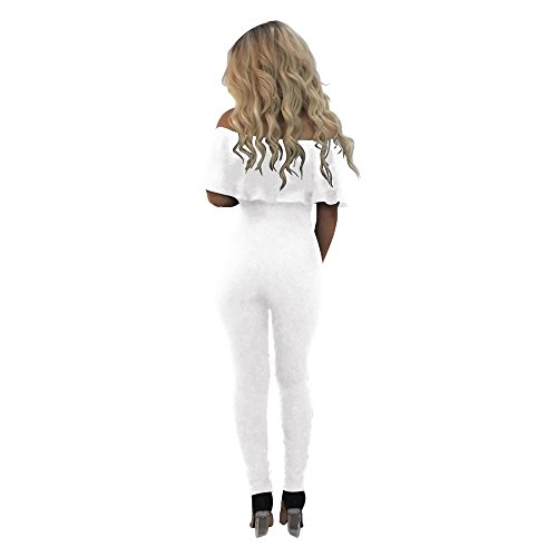 deb6869825574a CoCo Fashion Damen Jumpsuit Ärmeloses Overall Spielanzug Spaghettiträger  Hosen lang Off Schulter Weiß ...